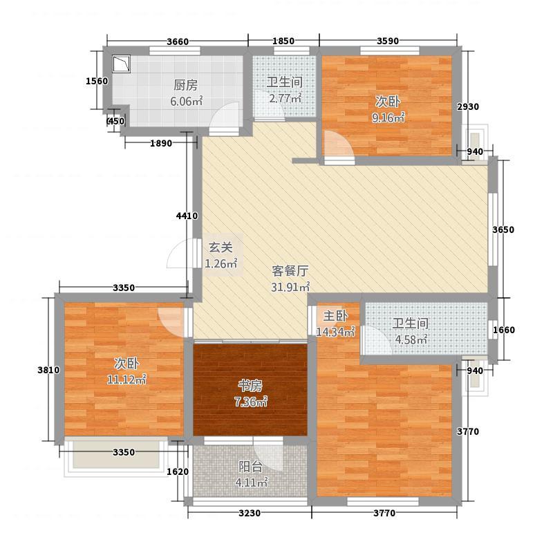 江都恒通帝景蓝湾131.66㎡I户型4室2厅2卫1厨
