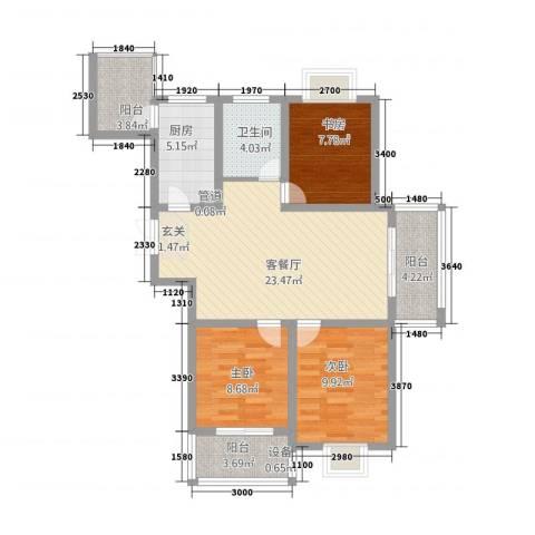 海洲铂兰庭3室1厅1卫1厨104.00㎡户型图