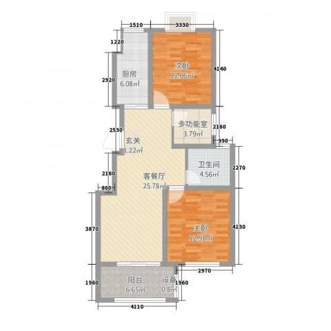 海洲铂兰庭2室1厅1卫1厨103.00㎡户型图