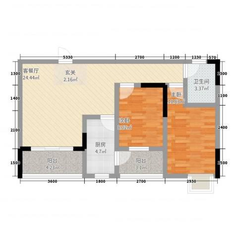三峡明珠大厦2室1厅1卫1厨378.00㎡户型图
