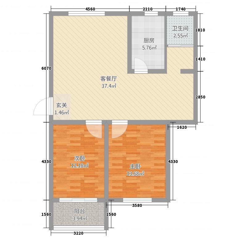 上海公馆6717.20㎡6#7#G户型2室2厅2卫1厨
