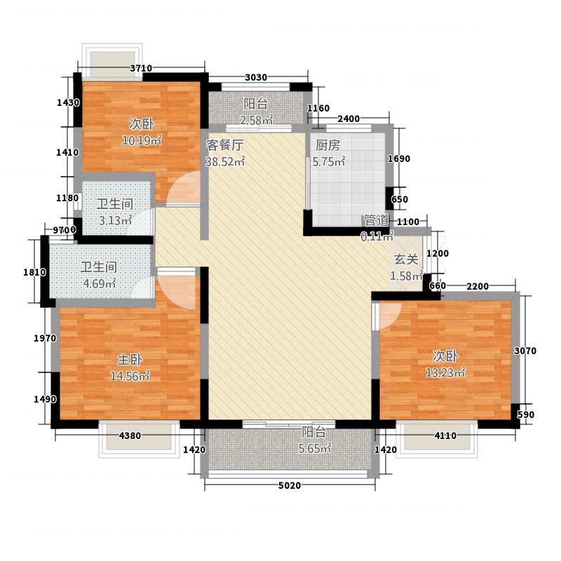 江南十二府141.00㎡C-5141m²户型3室2厅2卫1厨