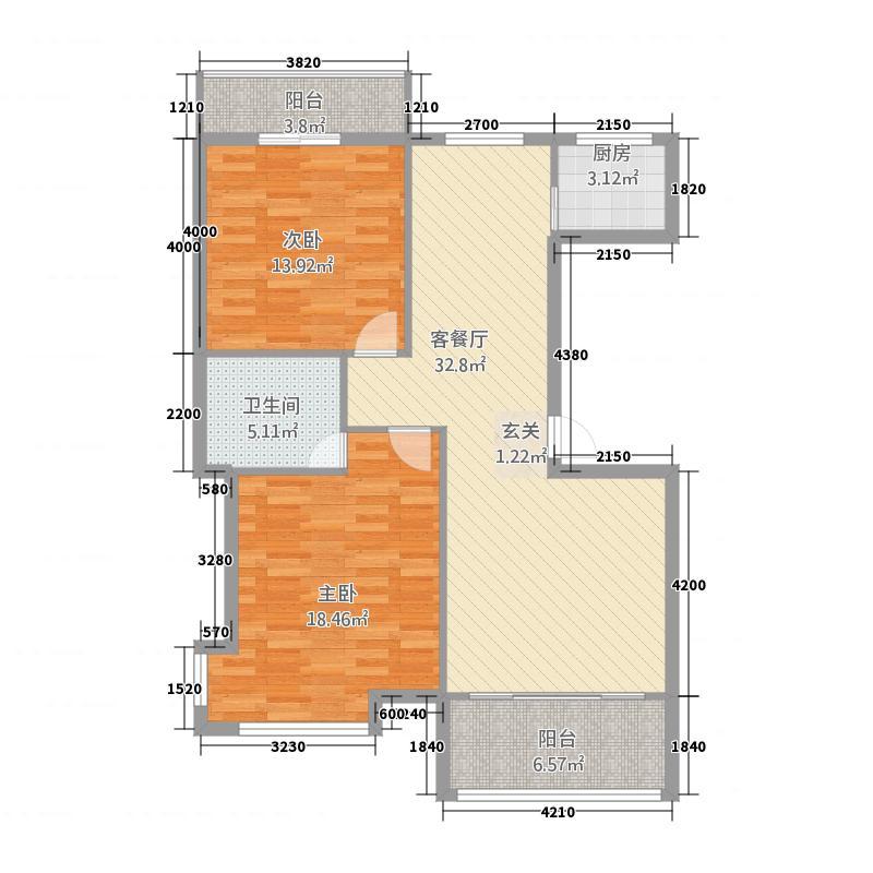欣盛华庭15.20㎡户型2室2厅1卫1厨