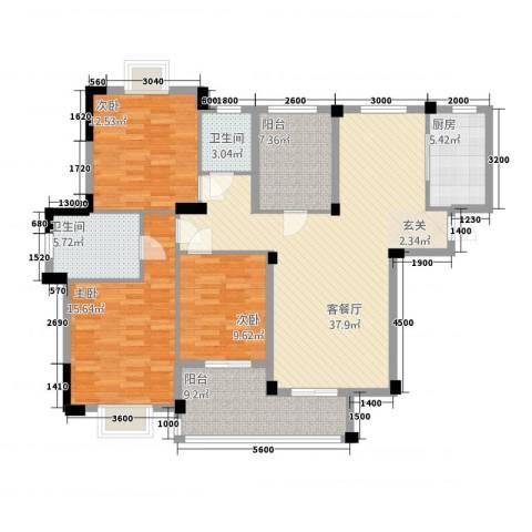 现代明珠新城加州国际3室1厅2卫1厨128.00㎡户型图