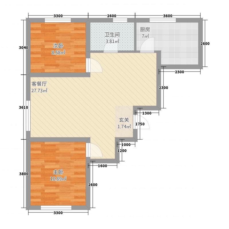 赛洛城1887.20㎡(18)户型2室2厅1卫1厨