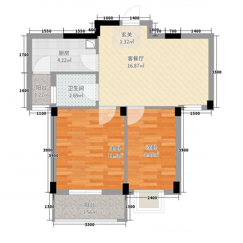 现代明珠新城加州国际63.20㎡13044J949-L户型2室2厅1卫1厨
