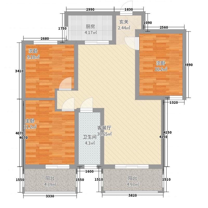 铜川荣盛国际公馆15.82㎡户型3室2厅1卫1厨
