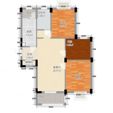 现代明珠新城加州国际3室1厅1卫1厨72.16㎡户型图