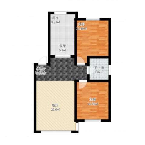 意大利风情小镇2室1厅1卫1厨94.00㎡户型图