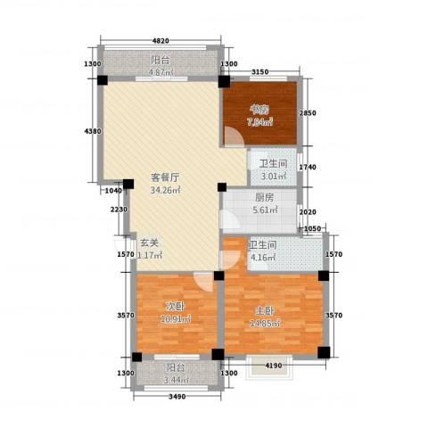 永辉・巴黎3室1厅2卫1厨122.00㎡户型图