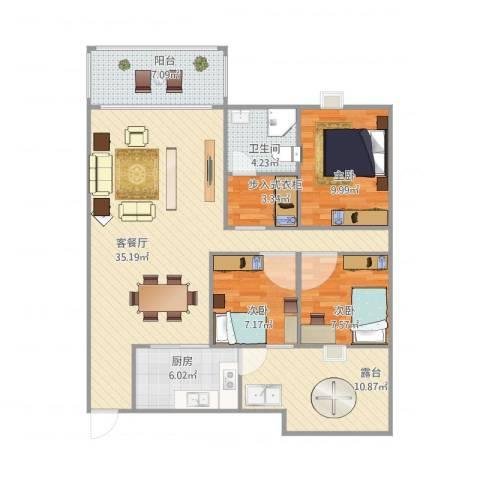荟景豪庭3室1厅1卫1厨124.00㎡户型图