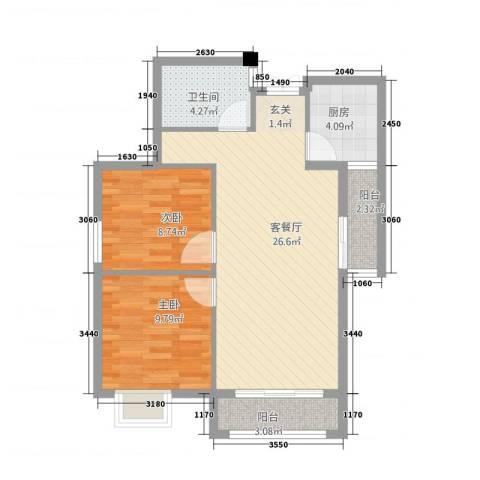 永辉・巴黎2室1厅1卫1厨84.00㎡户型图