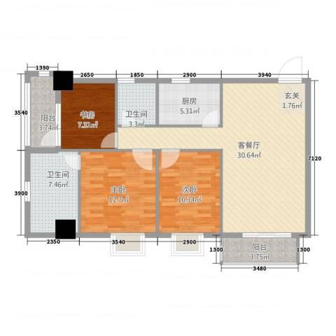 永辉・巴黎3室1厅2卫1厨84.56㎡户型图