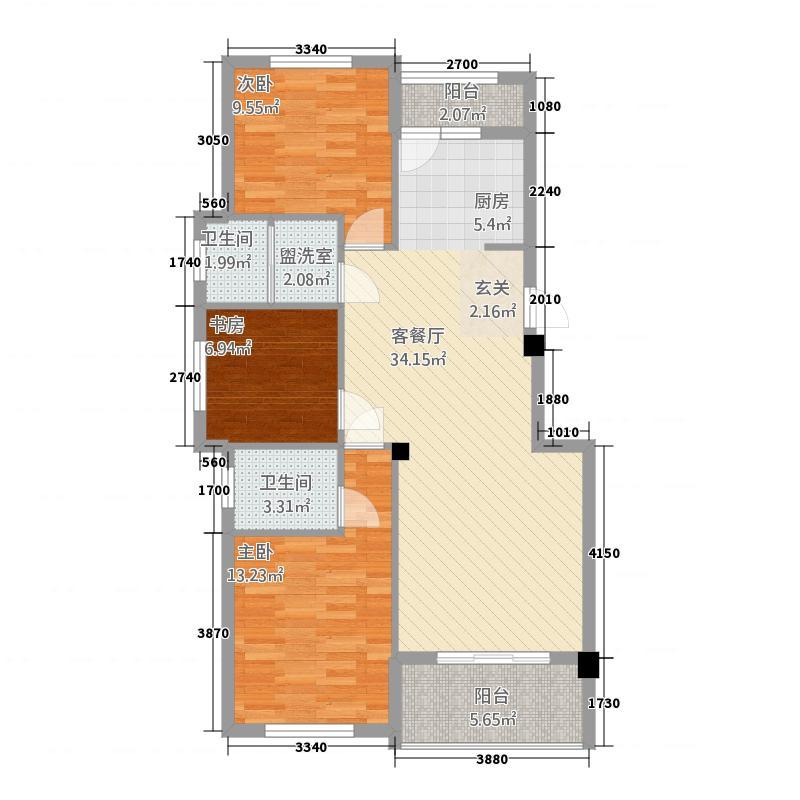 中央华府22111.42㎡G户型2室2厅2卫1厨