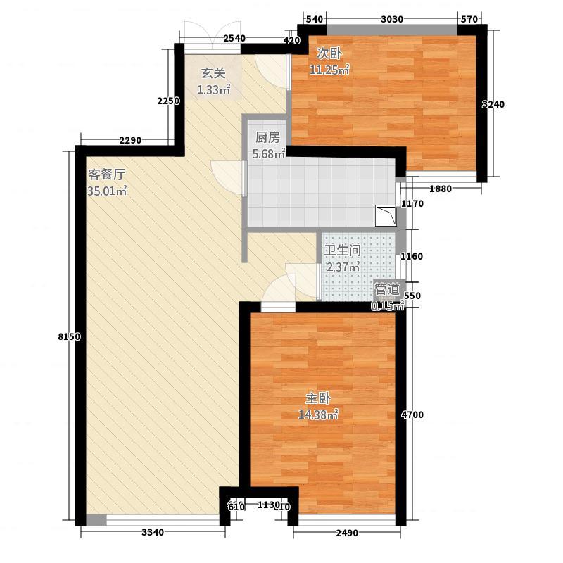 华远海蓝城2481.32㎡2期D4户型2室2厅1卫1厨