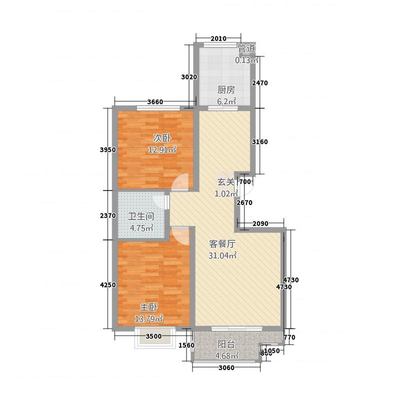 公园华府1213.62㎡1-A户型2室2厅1卫