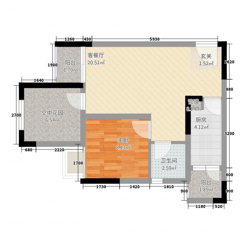 海亮国际广场3161.20㎡3#A1--户型1室2厅1卫