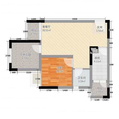 海亮国际广场1室1厅1卫1厨3161.00㎡户型图