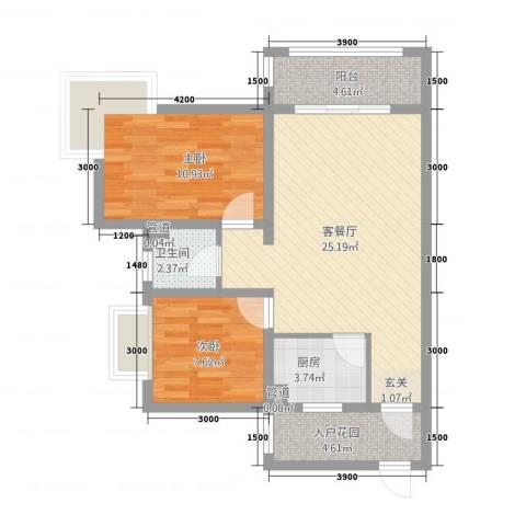 锦绣蓝湾2室1厅1卫1厨2184.00㎡户型图