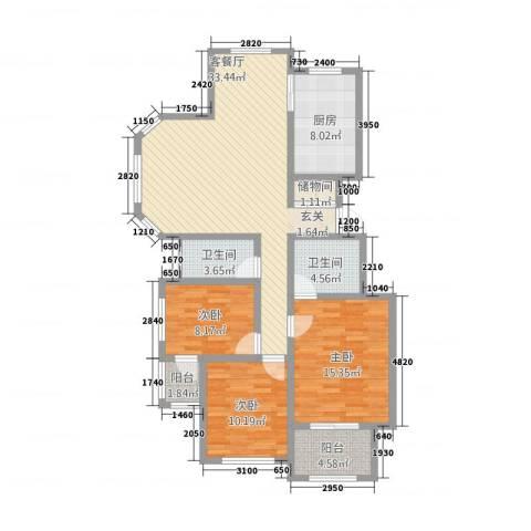 九鼎国际城3室1厅2卫1厨151821136.00㎡户型图