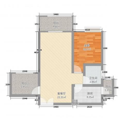 恒森・摩登时代1室1厅1卫1厨74.00㎡户型图