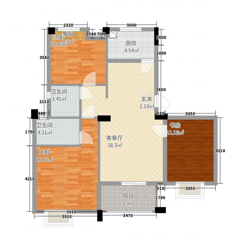 汉旺世纪城832113.81㎡c户型3室2厅2卫1厨