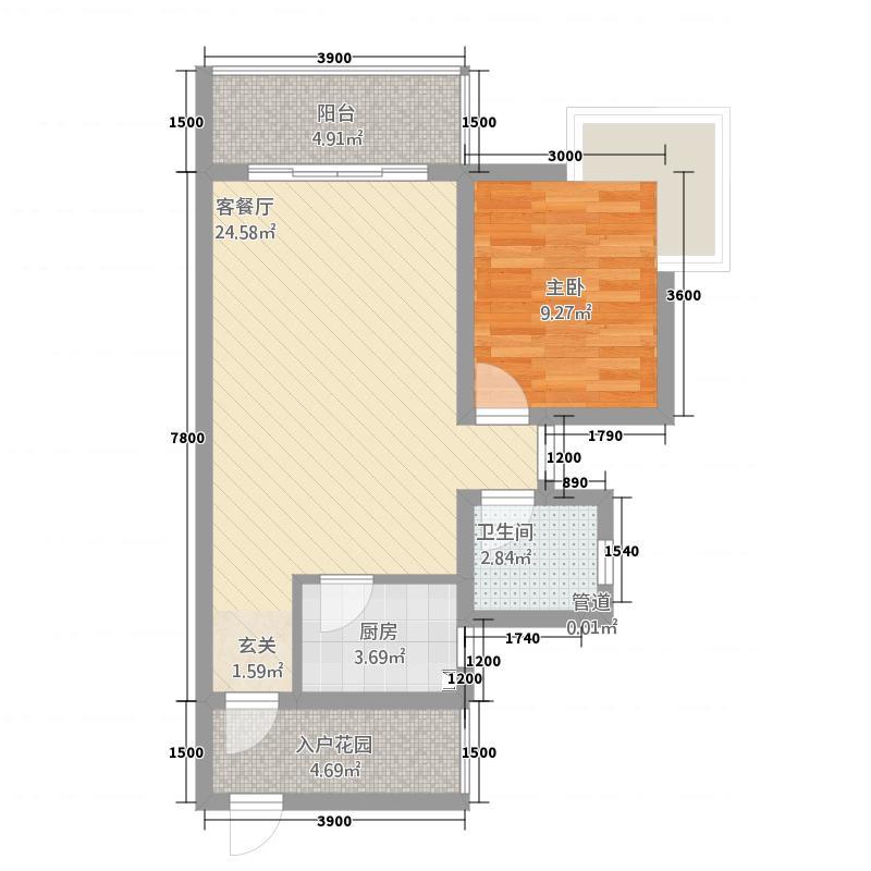 锦绣蓝湾1168.72㎡B户型1室1厅1卫1厨