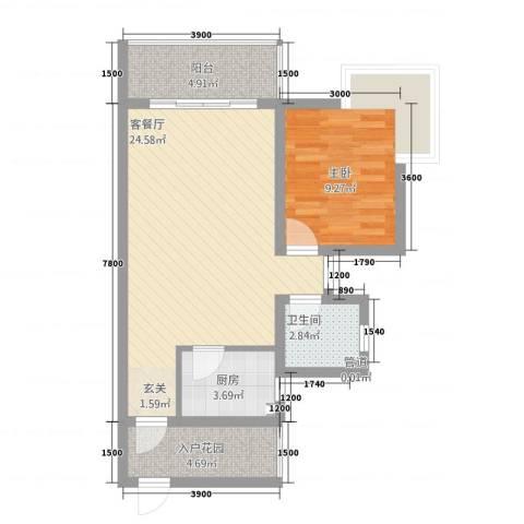 锦绣蓝湾1室1厅1卫1厨1169.00㎡户型图