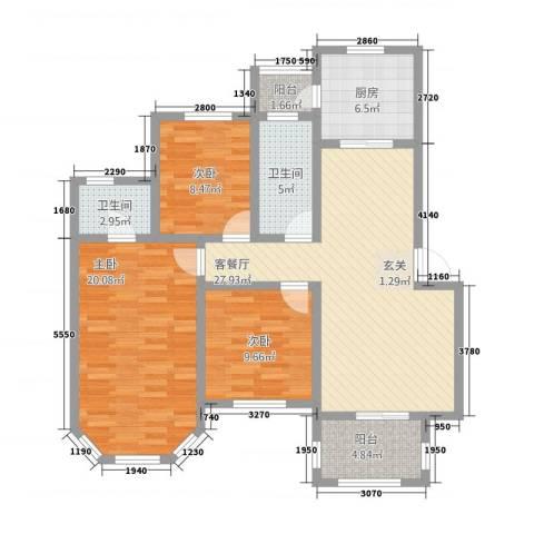 九鼎国际城3室1厅2卫1厨151821120.00㎡户型图