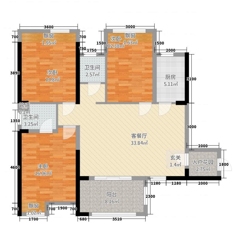 荆州金源世纪城13126.20㎡D户型3室2厅2卫1厨