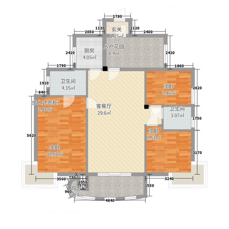 中央华府3212.77㎡K户型3室2厅2卫1厨