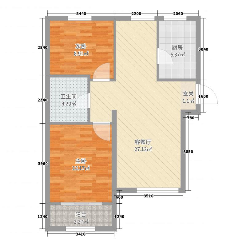圣域蓝湾186.20㎡一期J1户型2室2厅1卫1厨