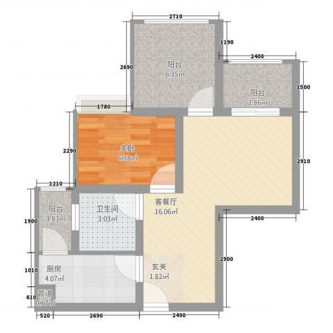 恒森・摩登时代1室1厅1卫1厨166.00㎡户型图