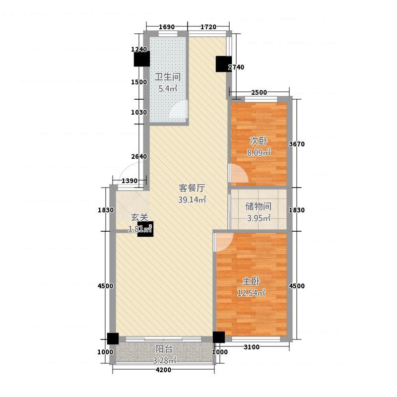 中鼎佳园22.82㎡户型2室2厅1卫