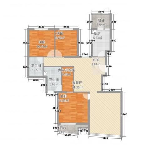世茂蝶湖湾3室1厅2卫1厨147.00㎡户型图
