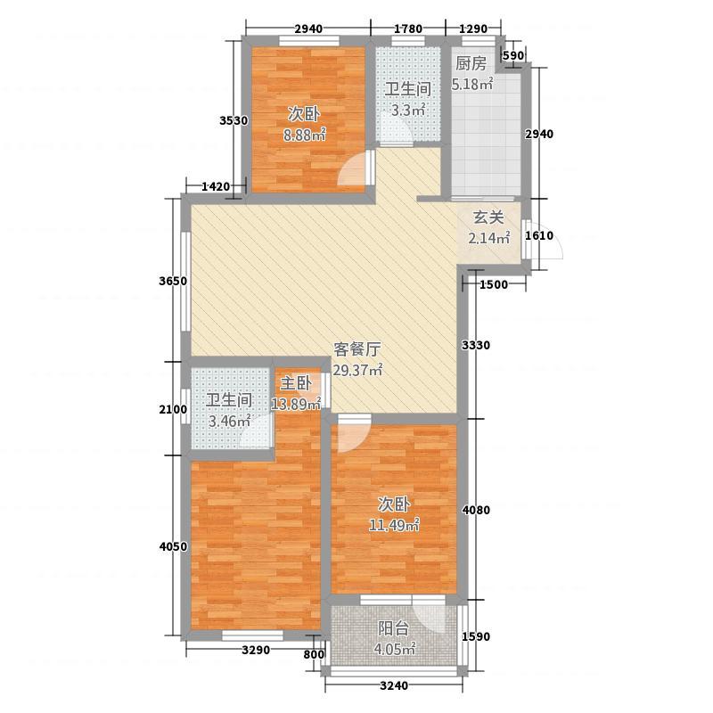 江都恒通帝景蓝湾115.22㎡A06户型3室2厅2卫1厨