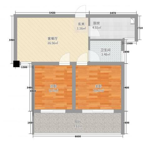 凯悦金领公寓2室1厅1卫1厨53.31㎡户型图