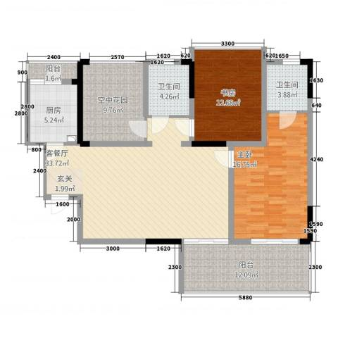 金域城邦2室1厅2卫1厨32118.00㎡户型图