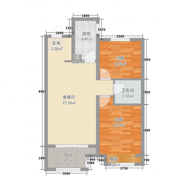 北城・帝景博苑5688.20㎡5#6#7#楼H两居户型2室2厅1卫1厨