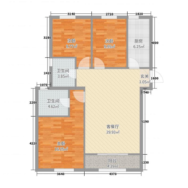 圣域蓝湾1118.20㎡一期C1户型3室2厅2卫1厨