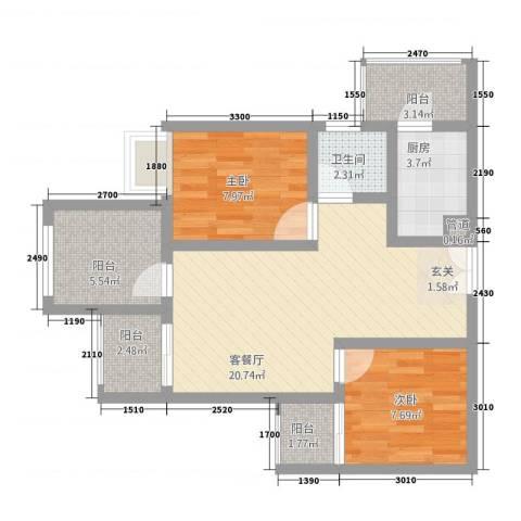 恒森・摩登时代2室1厅1卫1厨83.00㎡户型图