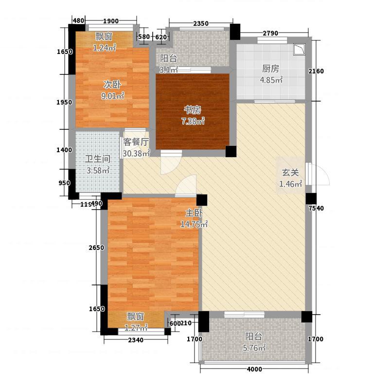 汉旺世纪城63213.12㎡c户型3室2厅1卫1厨