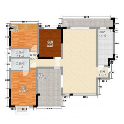 金域城邦3室1厅2卫1厨32133.00㎡户型图