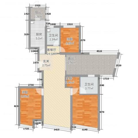 世茂蝶湖湾3室1厅2卫1厨153.00㎡户型图