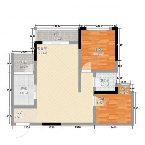华升・睿尚城2室1厅1卫1厨2387.00㎡户型图