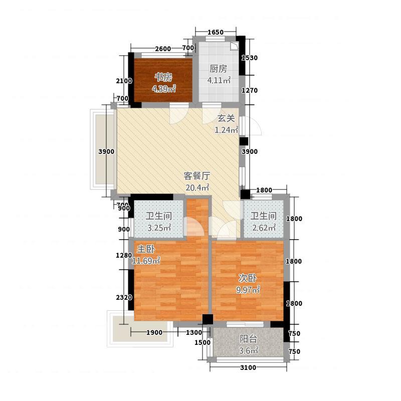 格林格林32288.20㎡G户型3室2厅2卫1厨