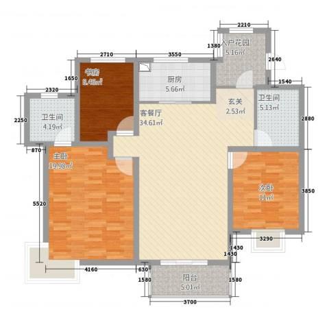 大唐花苑3室1厅2卫1厨141.00㎡户型图