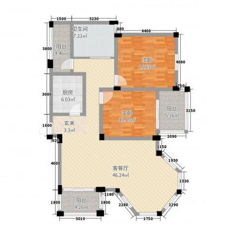 盛世莲花2室1厅1卫1厨12118.00㎡户型图