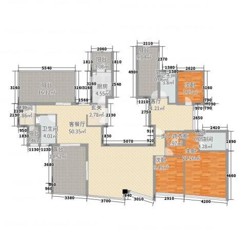 世茂蝶湖湾3室2厅3卫1厨234.00㎡户型图
