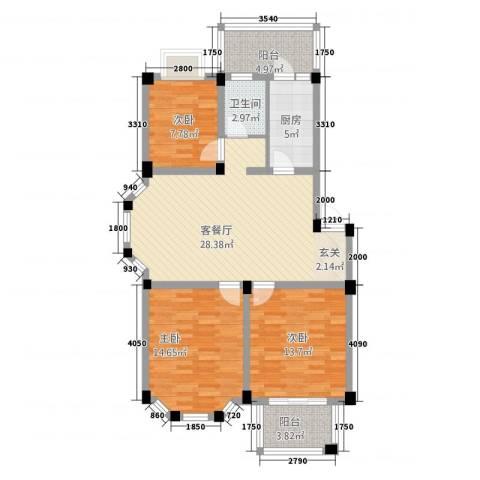 盛世莲花3室1厅1卫1厨1231.00㎡户型图